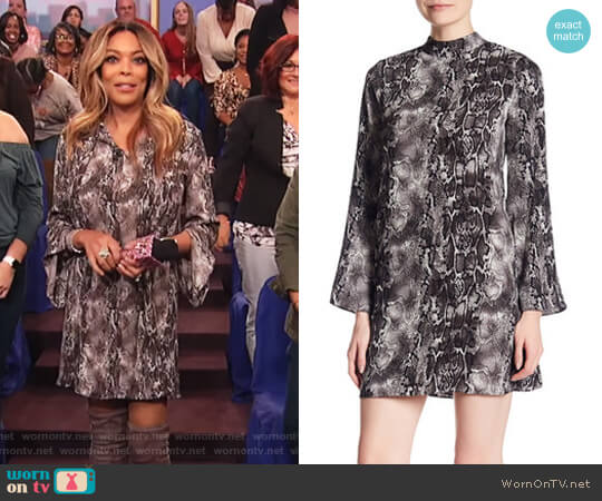 Snake Printed Mock Neck Bell Sleeve Crepe Dress by Laundry by Shelli Segal worn by Wendy Williams  on The Wendy Williams Show