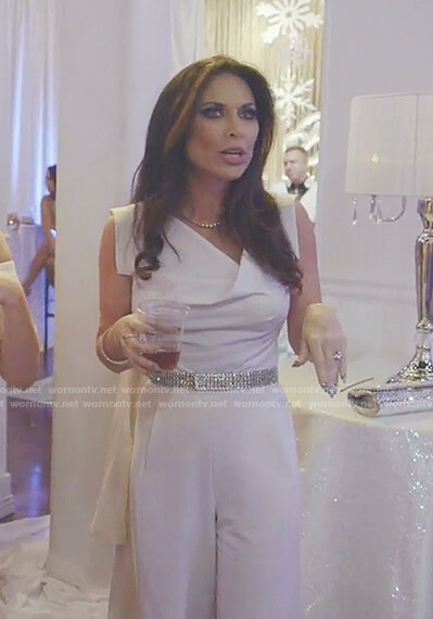 LeeAnn's white asymmetric neck jumpsuit on The Real Housewives of Dallas
