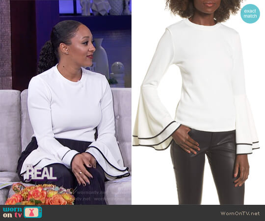 Bell Sleeve Sweater by Leith worn by Tamera Mowry on The Real