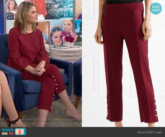 Faux Pearl Embellished Crepe Pants worn by Jenna Bush Hager  on Today