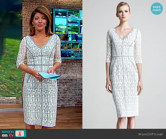 Jigsaw-Lace Dress by Lela Rose worn by Norah O'Donnell  on CBS This Morning