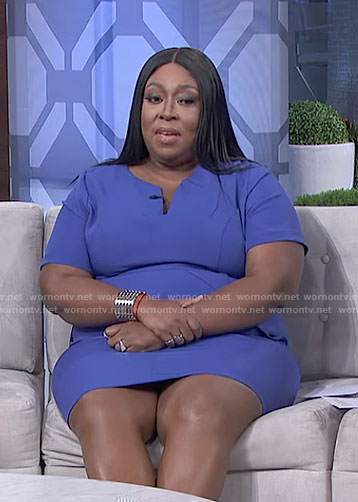 Loni's blue v-neck dress on The Real