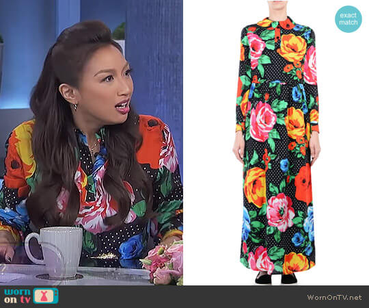 Flower Attack Maxi Dress by Love Moschino worn by Jeannie Mai on The Real