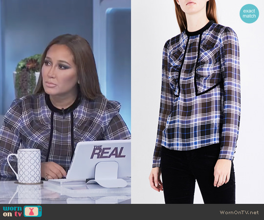 Lancho Checked Chiffon Top by Maje worn by Adrienne Houghton on The Real