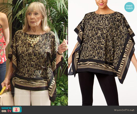 MICHAEL Michael Kors Leopard-Print Poncho Top worn by Dina Mergeron (Marla Adams) on The Young & the Restless