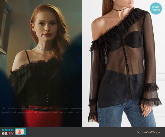 Magda Butrym Vigo One-shoulder Blouse worn by Madelaine Petsch on Riverdale