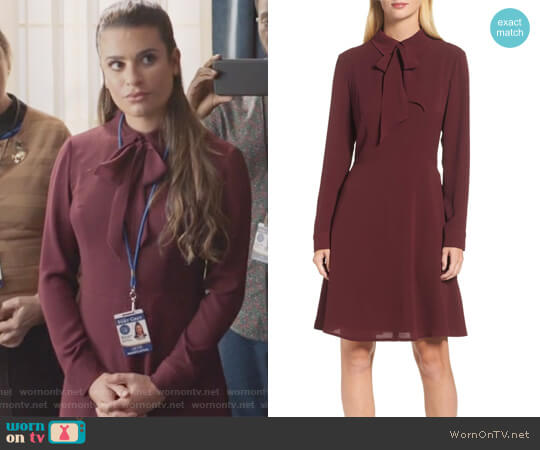 Crepe Bow Fit & Flare Dress by Maggy London worn by Valentina Barella (Lea Michele) on The Mayor