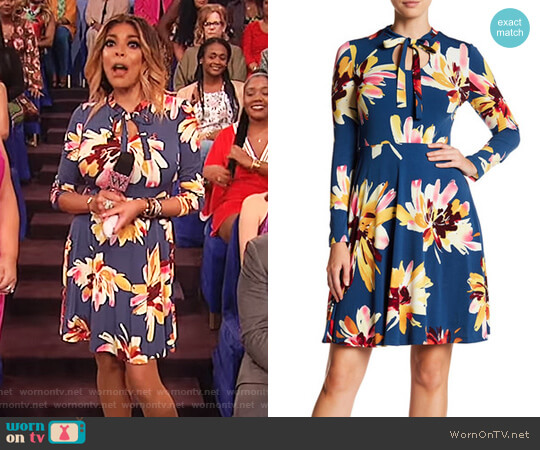 Floral Bow Neck Dress by Maggy London worn by Wendy Williams on The Wendy Williams Show