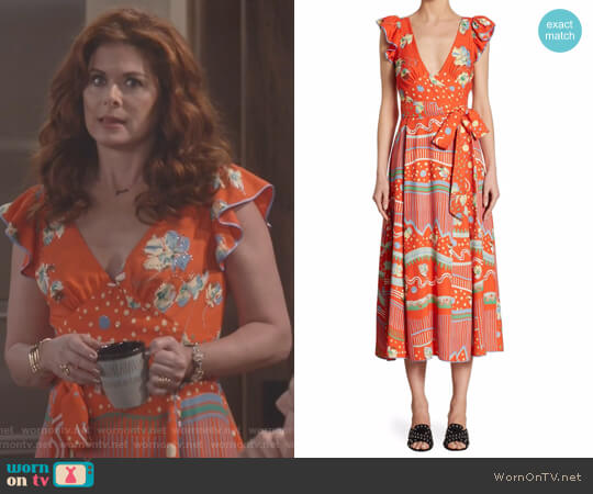 Floral-Print V-Neck Dress by Marc Jacobs worn by Debra Messing on Will & Grace