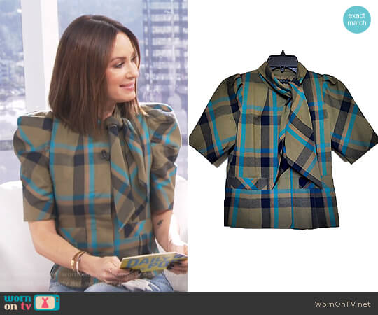 Plaid Blouse With Scarf Neck by Marc by Marc Jacobs worn by Catt Sadler on E! News