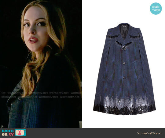 Marc Jacobs Degrade Sequined Houndstooth Long Cape worn by Fallon Carrington (Elizabeth Gillies) on Dynasty