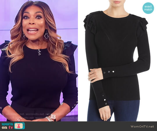 Ruffle Sweater by Marled by Reunited Clothing worn by Wendy Williams on The Wendy Williams Show