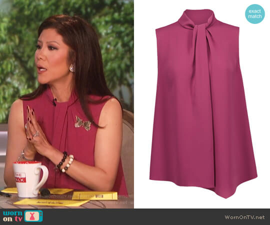 Twisted crepe de chine shirt by Max Mara worn by Julie Chen on The Talk