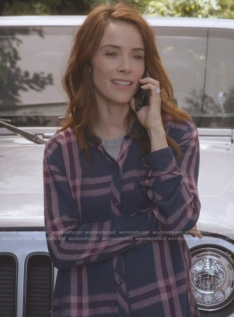 Megan's navy and pink plaid shirt on Grey's Anatomy