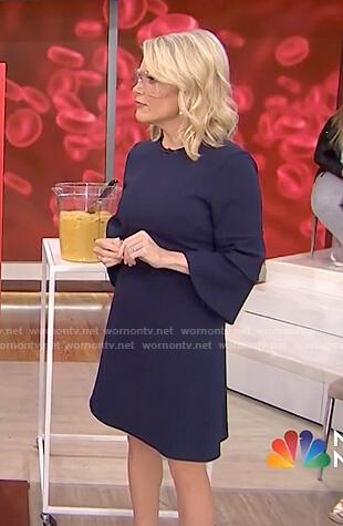 Megyn's navy tiered bell sleeve dress on Megyn Kelly Today
