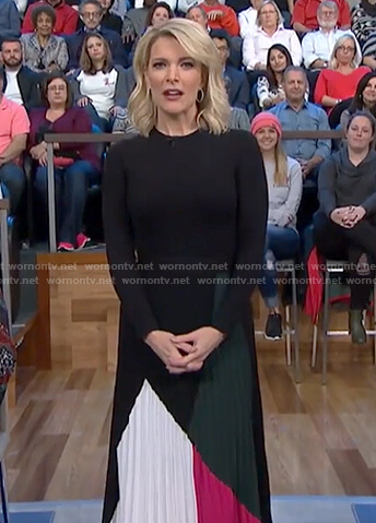 Megyn's multi-color pleated midi skirt on Megyn Kelly Today