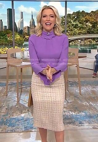 Megyn's purple ruffle mock neck top and tweed skirt on Megyn Kelly