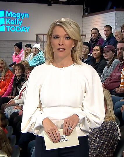 Megyn's white draped sleeve top on Megyn Kelly Today