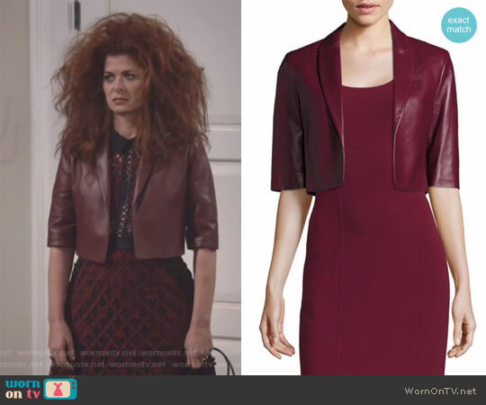 Cropped Plonge Leather Jacket by Michael Kors worn by Debra Messing on Will & Grace