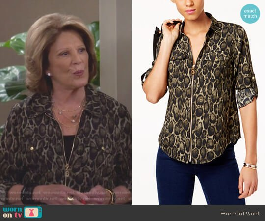 Leopard Print Utility Blouse by MICHAEL Michael Kors worn by Linda Lavin on 9JKL