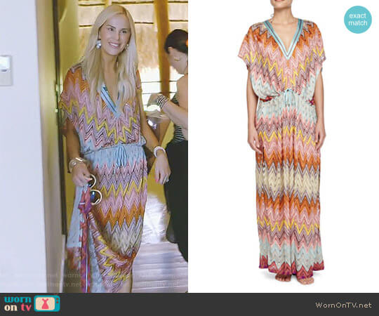 Zigzag-Print Long Caftan by Missoni Mare worn by Kameron Westcott on The Real Housewives of Dallas