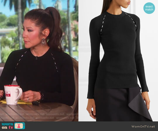 Embellished ribbed-knit sweater by Mugler worn by Julie Chen on The Talk