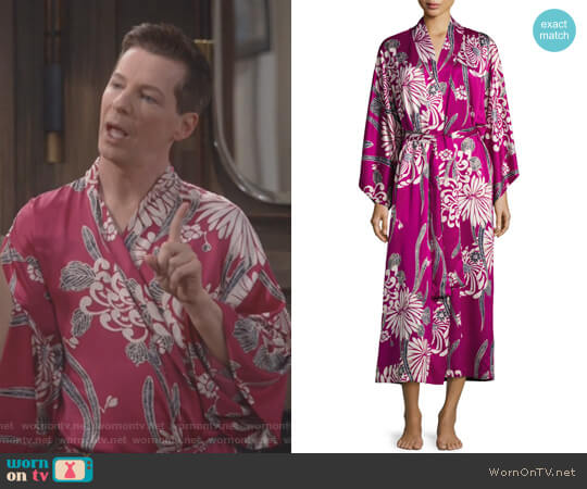 Aziome Floral-Print Long Robe by Natori worn by Jack McFarland (Sean Hayes) on Will & Grace