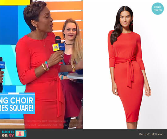 NY Deals Tie Front Sheath Dress by New York & Company worn by Robin Roberts on Good Morning America