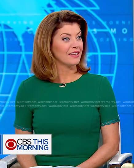 Norah's green short sleeve dress on CBS This Morning