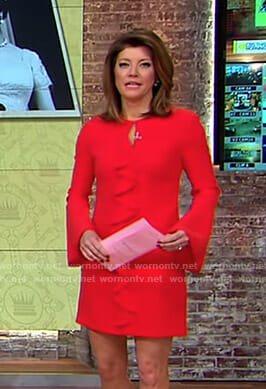 Norah's red ruffle front dress on CBS This Morning