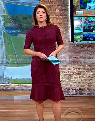 Norah's red ruffle hem tweed dress on CBS This Morning