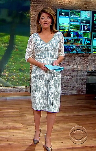 Nora's white and grey lace sheath dress on CBS This Morning
