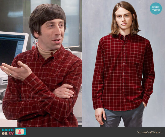 OBEY Halen Cord Windowpane Button-Down Shirt worn by Howard Wolowitz (Simon Helberg) on The Big Bang Theory