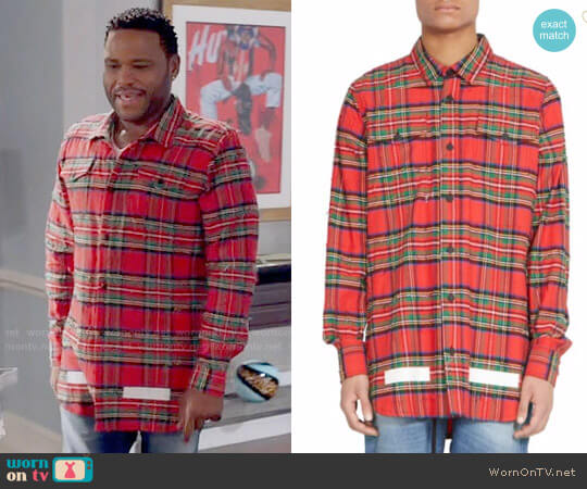 Off White Frayed Check Wool & Cotton Button-Down Shirt worn by Anthony Anderson on Blackish