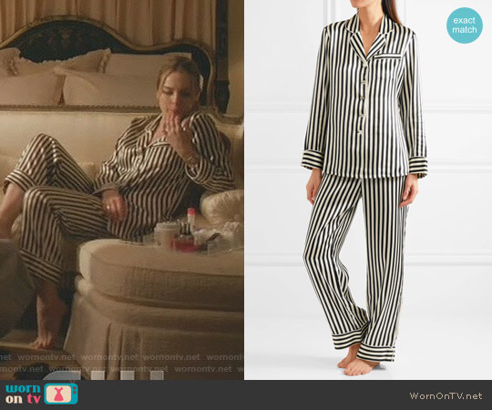 Lila Striped Silk-Satin Pajama Set by Olivia von Halle worn by Fallon Carrington (Elizabeth Gillies) on Dynasty