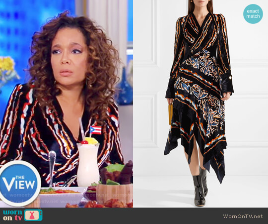 Wrap-effect printed velvet midi dress by Peter Pilotto worn by Sunny Hostin  on The View