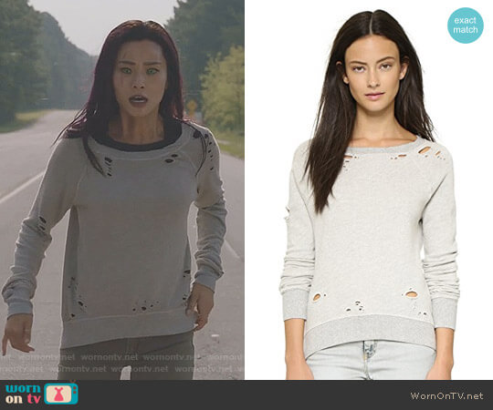 'Annie' Destroyed Sweatshirt by Pam & Gela worn by Clarice Fong (Jamie Chung) on The Gifted