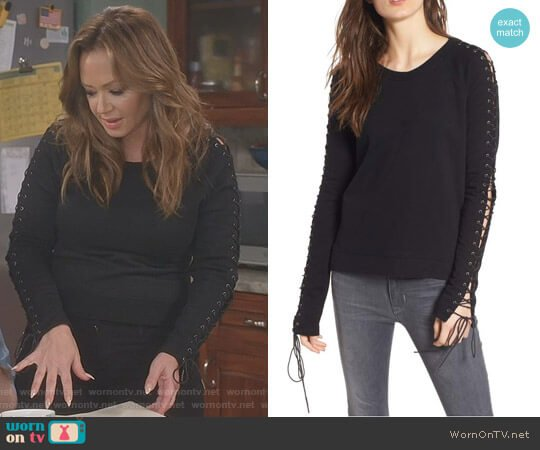Lace-Up Sleeve Sweatshirt by Pam & Gela worn by Vanessa Cellucci (Leah Remini) on Kevin Can Wait