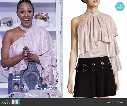 Ophelia Ruffled One-Shoulder Choker Blouse by Parker worn by Tamera Mowry  on The Real