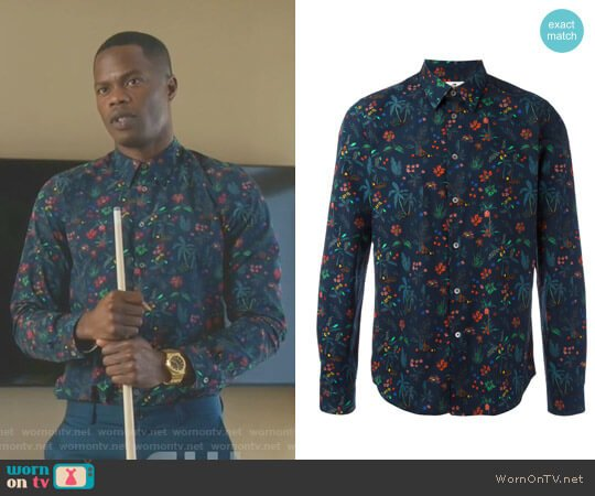 Jungle Print Shirt by PS by Paul Smith worn by Sam Adegoke on Dynasty
