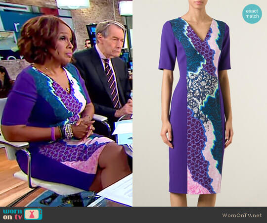 Digital Print Dress by Peter Pilotto worn by Gayle King on CBS This Morning