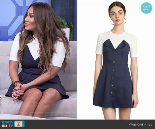 Greta Denim Snap Button Dress by Pixie Market worn by Adrienne Houghton  on The Real