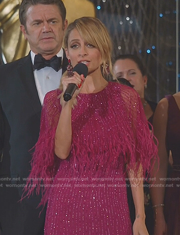 Portia's pink sequin feather gown on Great News