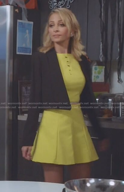 Portia's yellow a-line dress with cutouts on Great News