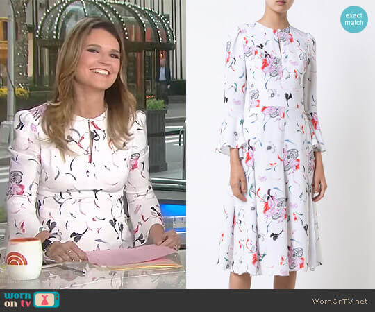 Pleated Skirt Floral Dress by Prabal Gurung worn by Savannah Guthrie on Today