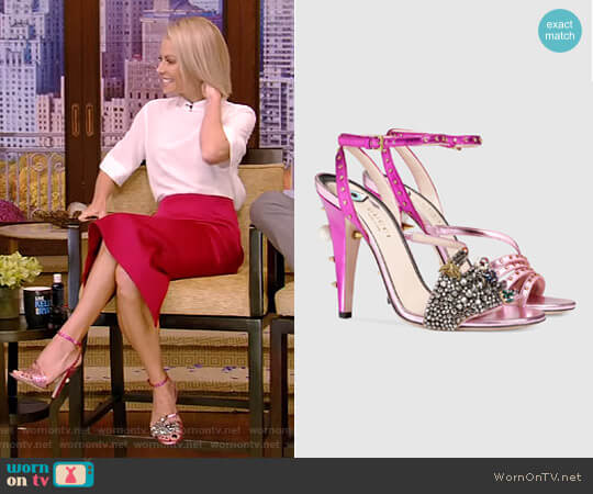 Metallic Leather Sandal by Gucci worn by Kelly Ripa on Live with Kelly & Ryan