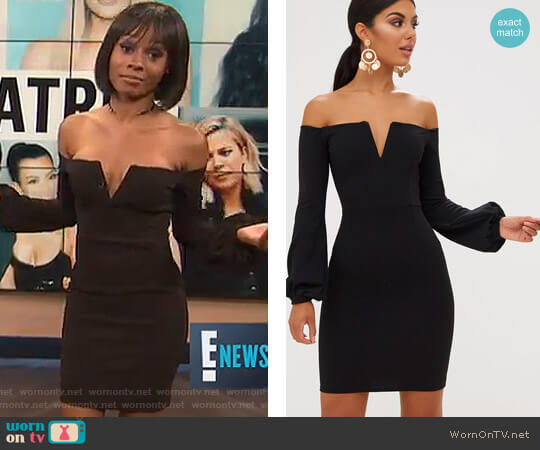 Balloon Sleeve Bardot Bodycon Dress by Pretty Little Thing worn by Zuri Hall on E! News
