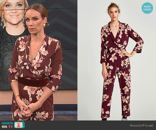 Printed Bodysuit with Lapel Collar worn by Catt Sadler on E! News