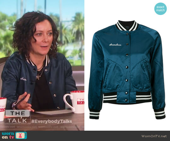 Shameless Bomber Jacket by R13 worn by Sara Gilbert on The Talk
