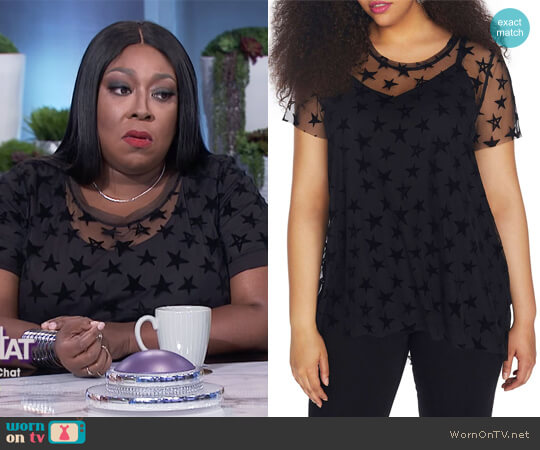 Star Print Mesh Overlay Top by Rebel Wilson X Angels worn by Loni Love on The Real